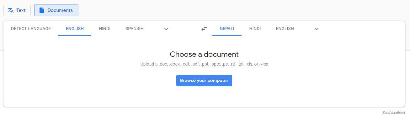 Upload PDF file to Google Translate