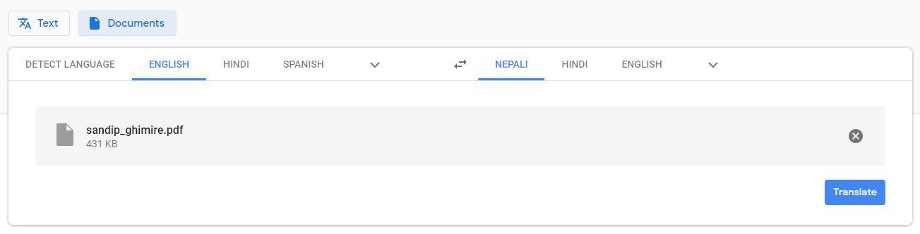Translate PDF file Using Google Translate